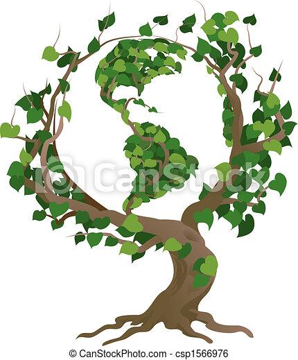 Grünes Weltbaumvektorbild - csp1566976