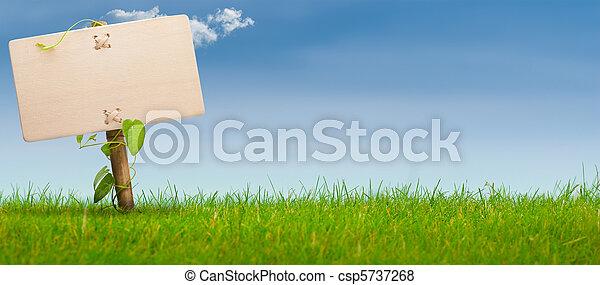 Grünes Zeichen, horizontales Banner, blauer Himmel - csp5737268