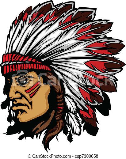 Indian Chief Maskottchenkopfvektor gra - csp7300658