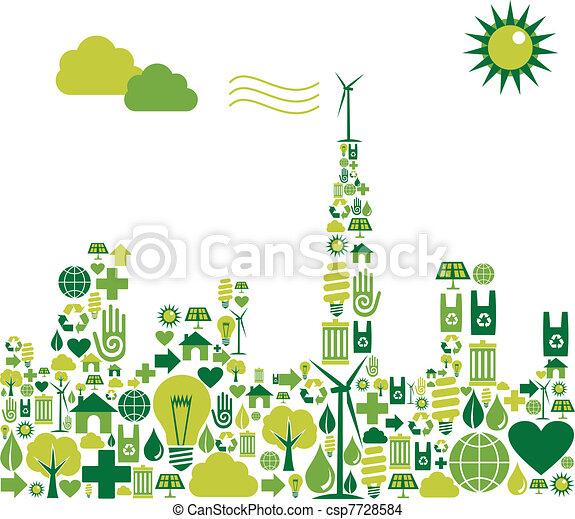 Green City Silhouette mit Umwelt-Ikonen - csp7728584