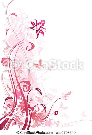 grunge, rosa, blumen- - csp2793549