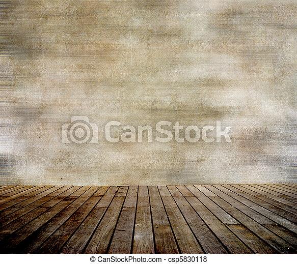 Grungemauer und Holzboden - csp5830118