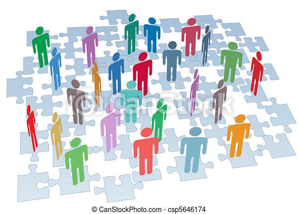 Humanressourcen-Gruppenverbindung Puzzle-Netzwerk - csp5646174