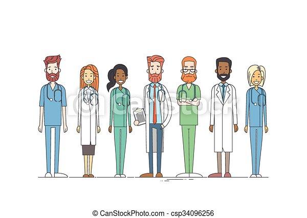 Gruppen-Medizinärzte arbeiten dünne Linie. - csp34096256
