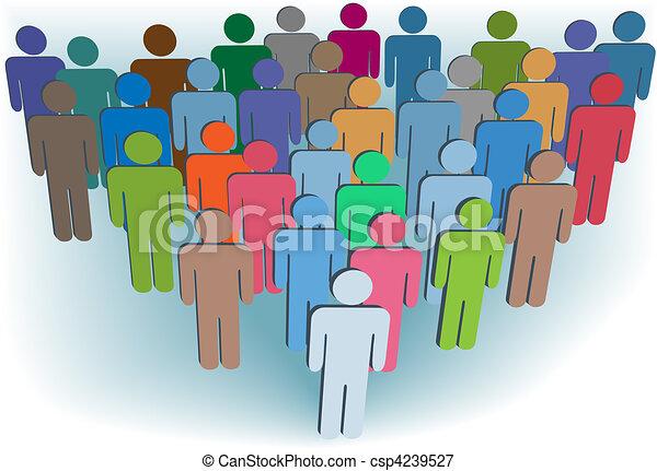 Gruppenunternehmen oder Bevölkerungsgruppen symbolisieren Hautfarben - csp4239527