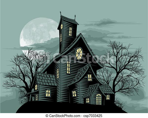 Gruseliges Geisterhaus-Illustration - csp7033425