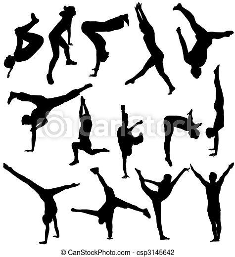 Gymnastik-Silhouettes-Sammlung - csp3145642