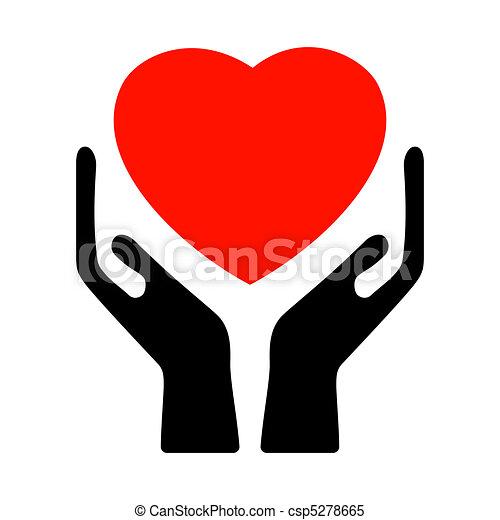 Hände halten das Herz. EPS 8 - csp5278665