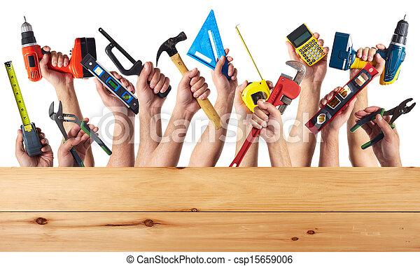 Hände mit dem Computer. - csp15659006