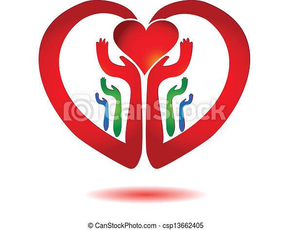 Hände mit einem Herz-Ikonenvektor - csp13662405