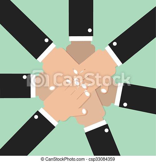 Hände verbinden Teamgeist. - csp33084359