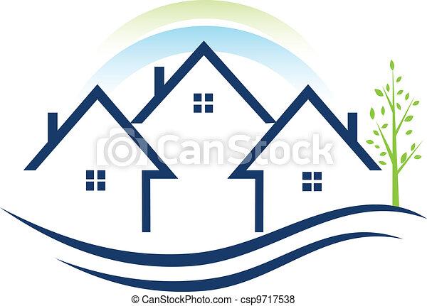 Häuser Wohnungen mit Baumlogo. - csp9717538