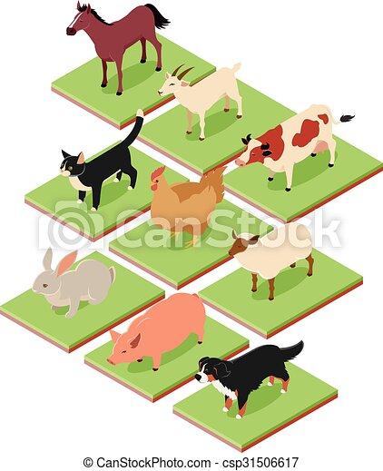 Häusliche isometrische Tiere. - csp31506617