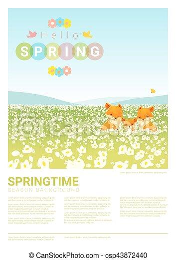 Hallo Frühlingslandschaft Hintergrund mit Fuchsfamilie 2. - csp43872440