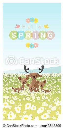 Hallo Frühlingslandschaft Hintergrund mit Rehfamilie 2. - csp43543899