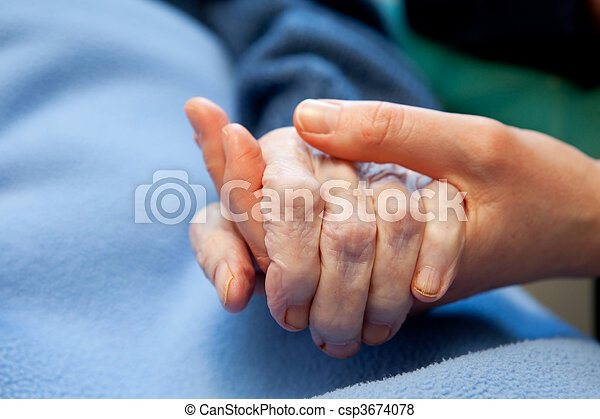 hand, altes , altenpflege - csp3674078