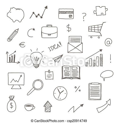 hand, gezeichnet, vektor, geschäfts-ikon - csp20914749