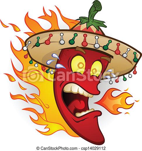 Heiße Chili-Pepper-Zeichenfigur - csp14029112
