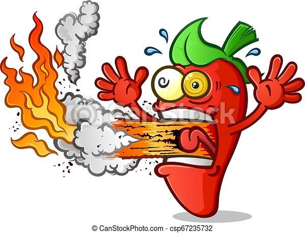 Heißer Pfeffer-Cartoon, der Feuer atmet. - csp67235732