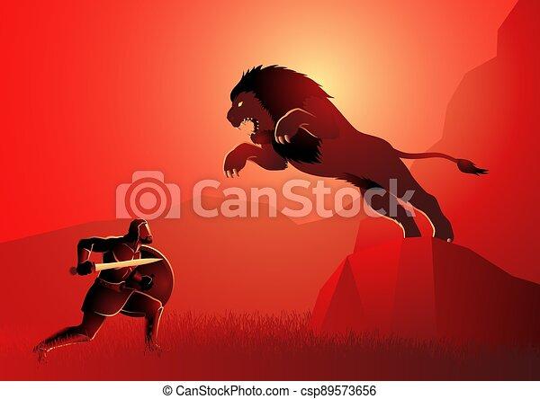 herakles, löwe, kämpfen, nemean, herkules, oder - csp89573656