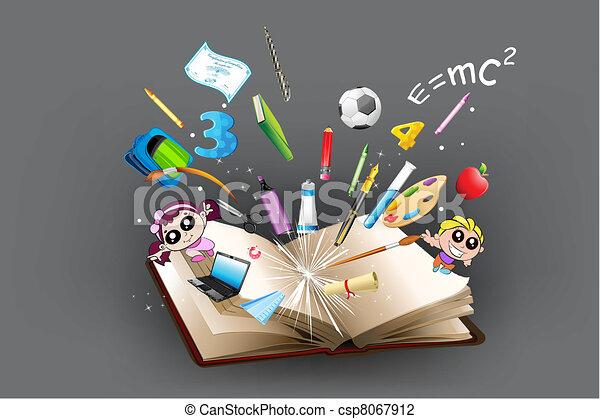Bildungsgegenstand kommt aus dem Buch - csp8067912