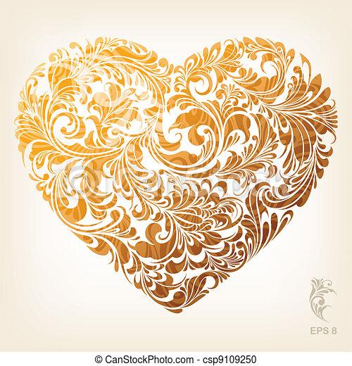 herz, dekorativ, gold, muster - csp9109250