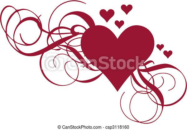 Herz mit Wirbeln, Vektor - csp3118160