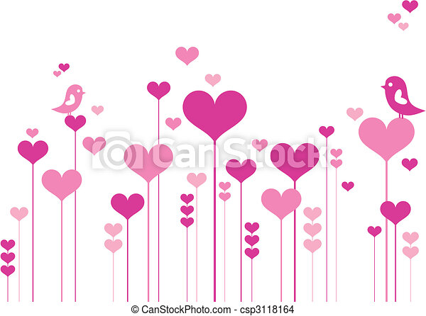 Herzblumen mit Vögeln - csp3118164