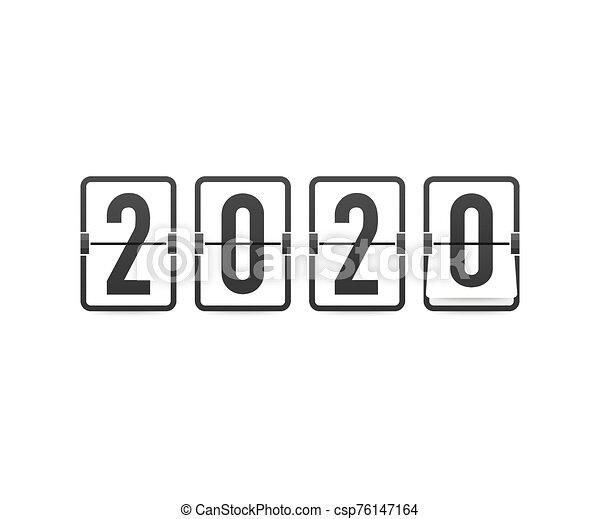 hintergrund., 2020., jahr, karten., schablone, uhr, countdown, retro, gruß, schwarz, illustration., vektor, neu , schnellen - csp76147164