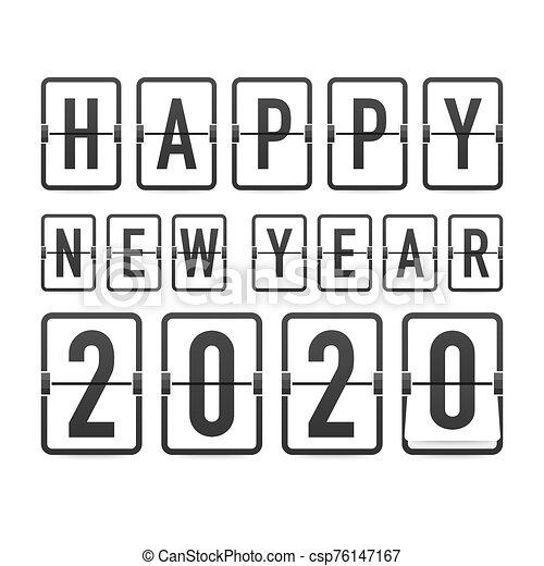 hintergrund., 2020., jahr, karten., schablone, uhr, countdown, retro, gruß, schwarz, illustration., vektor, neu , schnellen - csp76147167