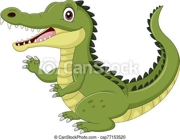 hintergrund, freigestellt, weißes, karikatur, hand, lustiges, krokodil, winkende  - csp77153520