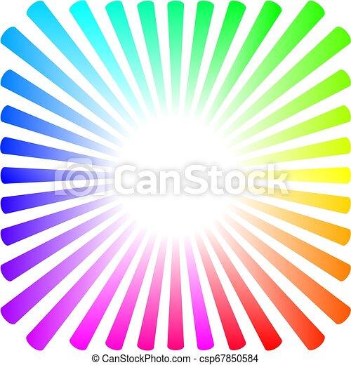 Hintergrund in Form einer farbigen Sonne mit Strahlen - csp67850584