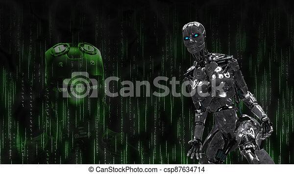 hintergrund, metallisch, cyborg, robotic, schwarz - csp87634714