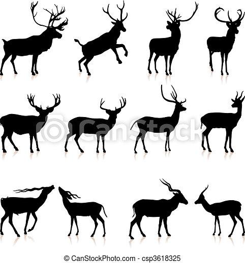 Deer silhouette Sammlung - csp3618325