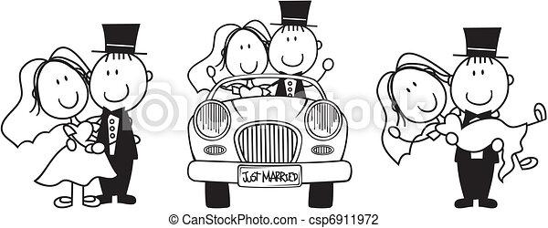 Hochzeits Cartoon-Einladung - csp6911972
