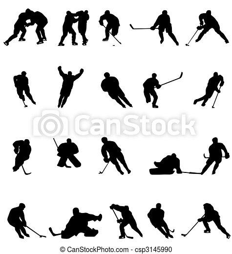 Hockey-Silhouettes-Sammlung - csp3145990