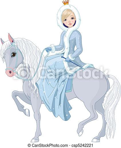 horse., reiten, prinzessin, winter - csp5242221