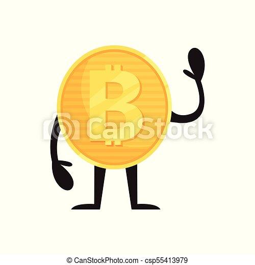 Humanisierter Bitcoin Charakter steht und winkt von Hand. Glänzende goldene Münze. Cryptocurrency, Geld und Finanzkonzept. Flat Vektordesign für mobile App oder Aufkleber - csp55413979