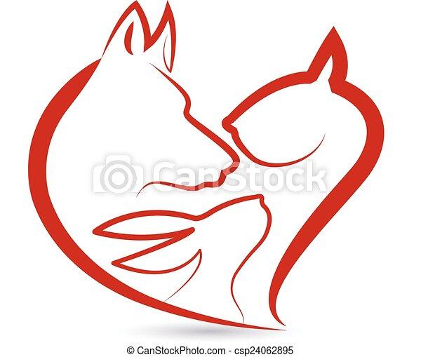 Katzenhund und Kaninchenköpfe Logo - csp24062895