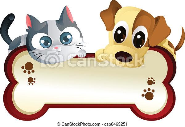 Hund und Katze mit Banner - csp6463251