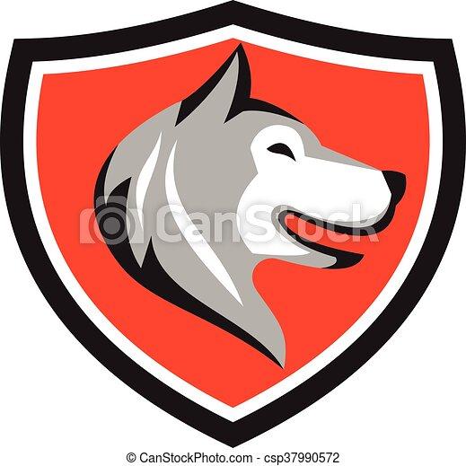 Husky Hundekopfschild Retro. - csp37990572