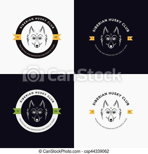 Husky-Kopf-Flach-Logo-Vektorsatz. Eine Reihe von Logo- und Logo-Elementen für Heimtier-, Heim-, Tier- und exotische Tierklinik. - csp44339062