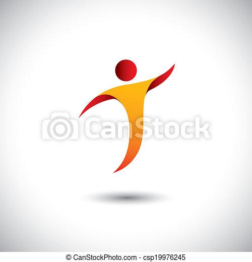Icon für Aktivitäten wie Tanz, Drehen, Fliegen - Konzept Vektorgrafik. Diese Abbildung repräsentiert auch Personentänze, Yoga, Aerobic, Akrobatik, Gymnastik, Sport usw - csp19976245