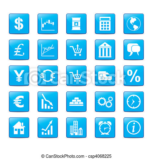 Icon hat für Märkte einen blauen Stil. - csp4068225