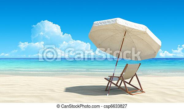 idyllisch, schirm, tropische , sand, stuhl, sandstrand - csp6633827