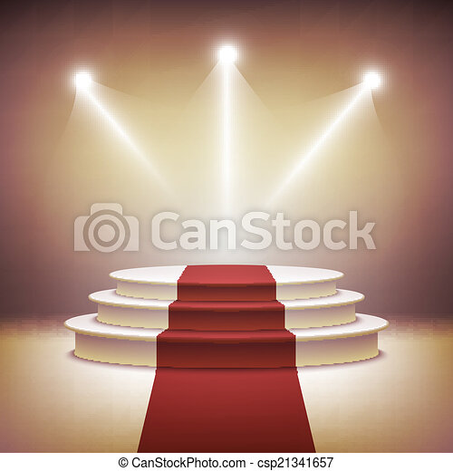 Illuminated Bühne Podium für Preisvektoren. - csp21341657