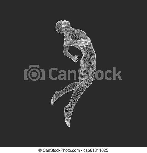 illustration., body., luft., schweben, vektor, design, man., menschliche , modell, mann, schwimmend, element., 3d - csp61311825