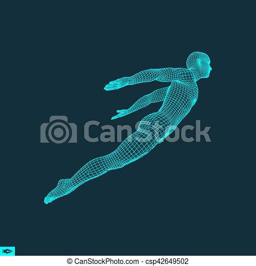 Er schwebt in der Luft. Der Mann schwebt in der Luft. 3D-Modell des Menschen. Menschlicher Körper. Designelemente. Vector Illustration. - csp42649502