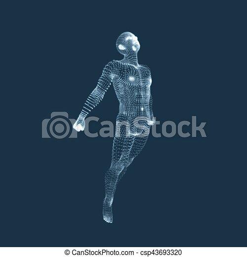 illustration., body., vektor, design, man., menschliche , modell, element., 3d - csp43693320
