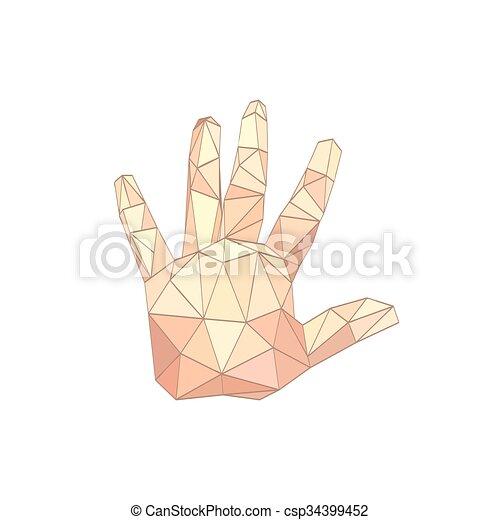Illustration der flachen Origami-Hand. - csp34399452